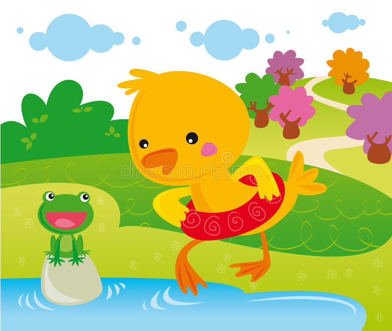 Learn to swim. Illustration of cute duck learning to swim