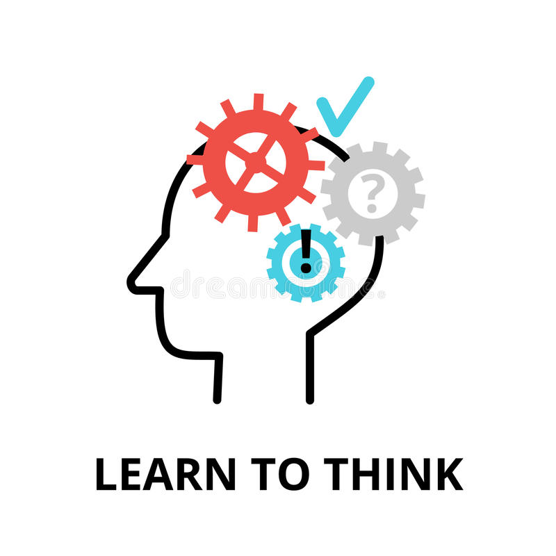 Free Learn To Think Icon, Flat Thin Line Vector Illustration Royalty Free Stock Image - 88620906