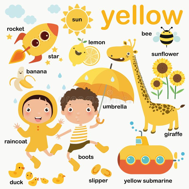 Free Learn Yellow Color, Educate Color And Vocabulary Set, Illustration Of Primary Colors, Vector Illustration Stock Images - 157238094
