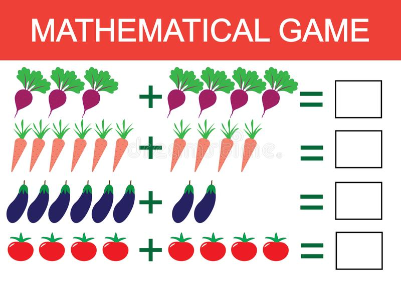 Learning addition by example of vegetables for children, counting activity. Math educational game for children. Vector illustratio royalty free illustration