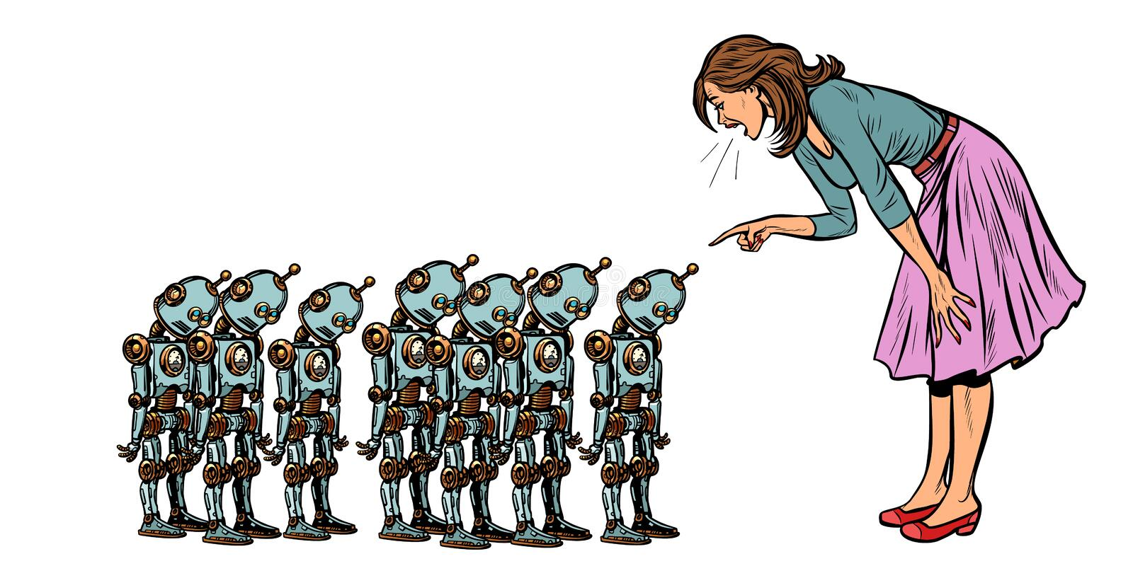 Learning artificial intelligence concept, woman swears at small robots royalty free illustration
