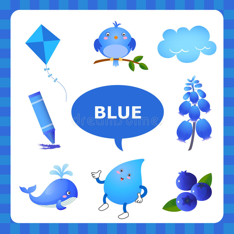 Learning Blue color. Learn The Color Blue - things that are blue color stock illustration