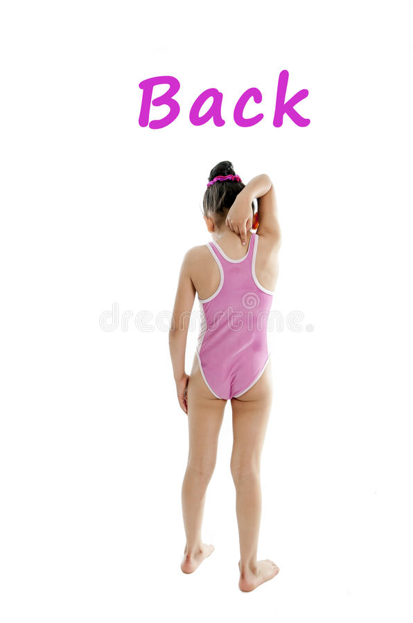 Learning body card of girl pointing at her back and shoulders on a white background stock images