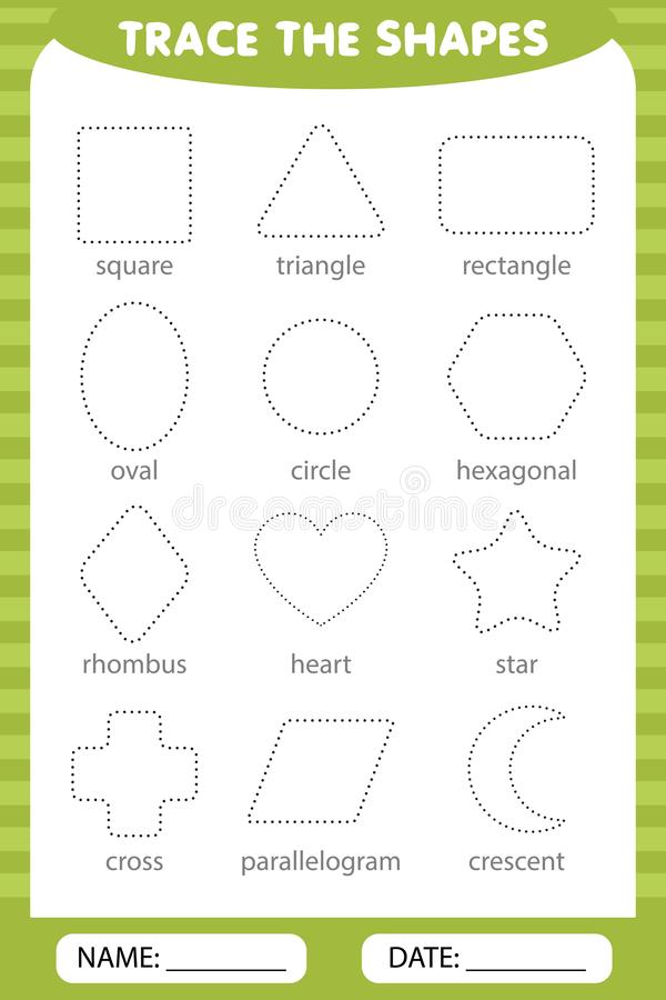 Trace the geometric shapes around the contour. Preschool worksheet trace the shapes.. trace the shapes stock illustration