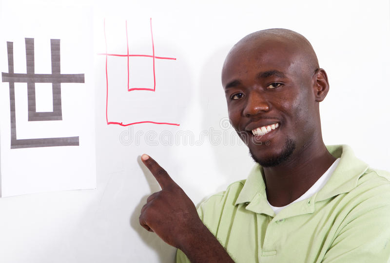 Learning chinese. African adult student learning chinese royalty free stock photos