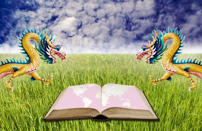 Learning chinese culture, Open book at field royalty free stock photos