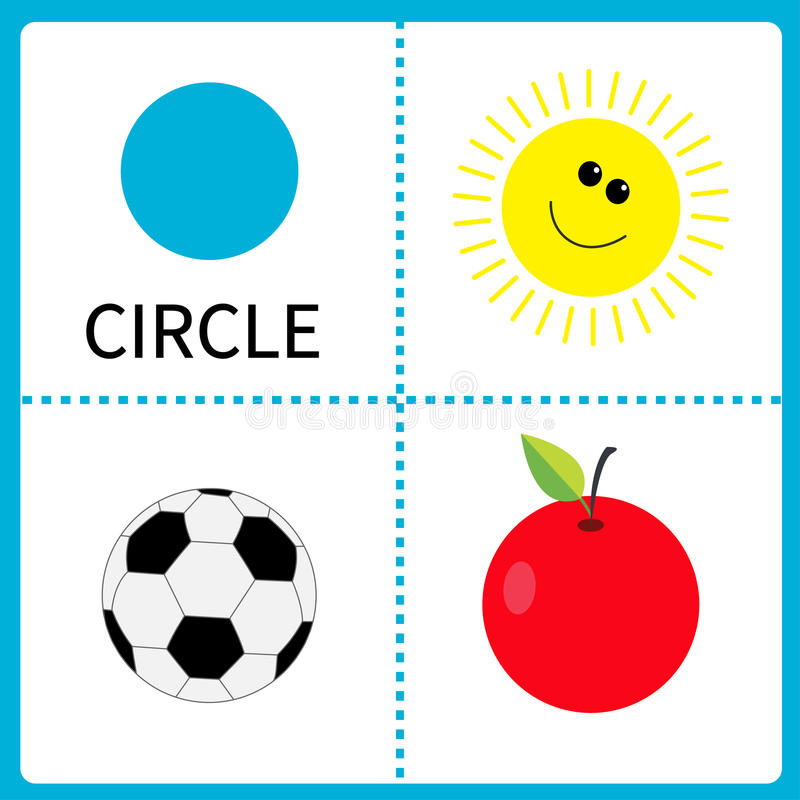 Learning circle form. Sun, football ball and apple. Educational cards for kids. Flat design. vector illustration