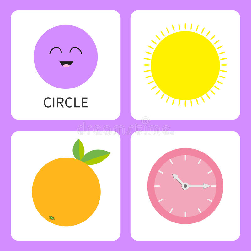 Learning circle round form shape. Smiling face. Cute cartoon character. Sun, orange fruit with leaf, clock watch set. Educational. Learning circle form shape vector illustration
