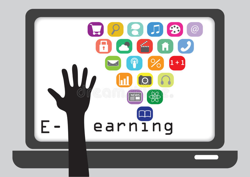 Learning with computer. Computer with colourful icons and human hand to convey the concept of e-learning royalty free illustration