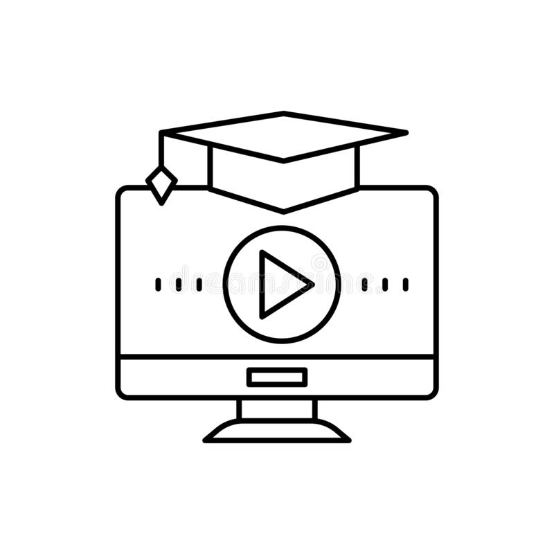 Learning, computer, square academic cap icon. Element of education line icon stock illustration