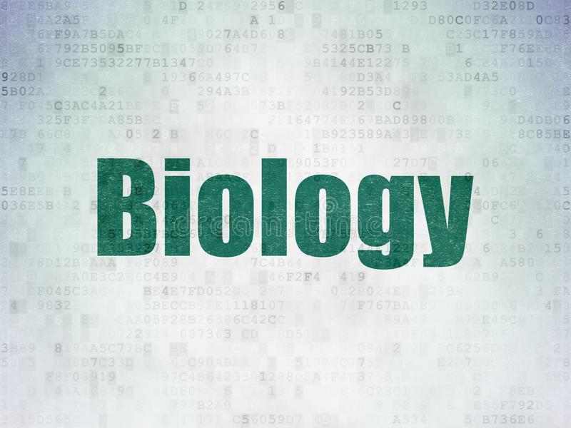Learning concept: Biology on Digital Data Paper background royalty free stock image