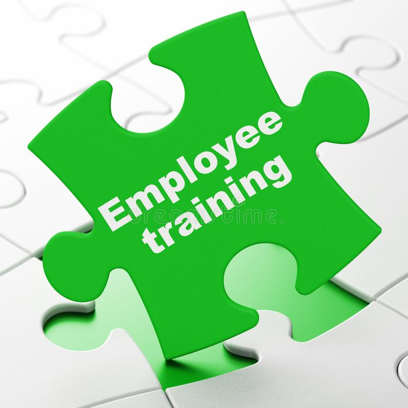Learning concept: Employee Training on puzzle background. Learning concept: Employee Training on Green puzzle pieces background, 3D rendering royalty free illustration