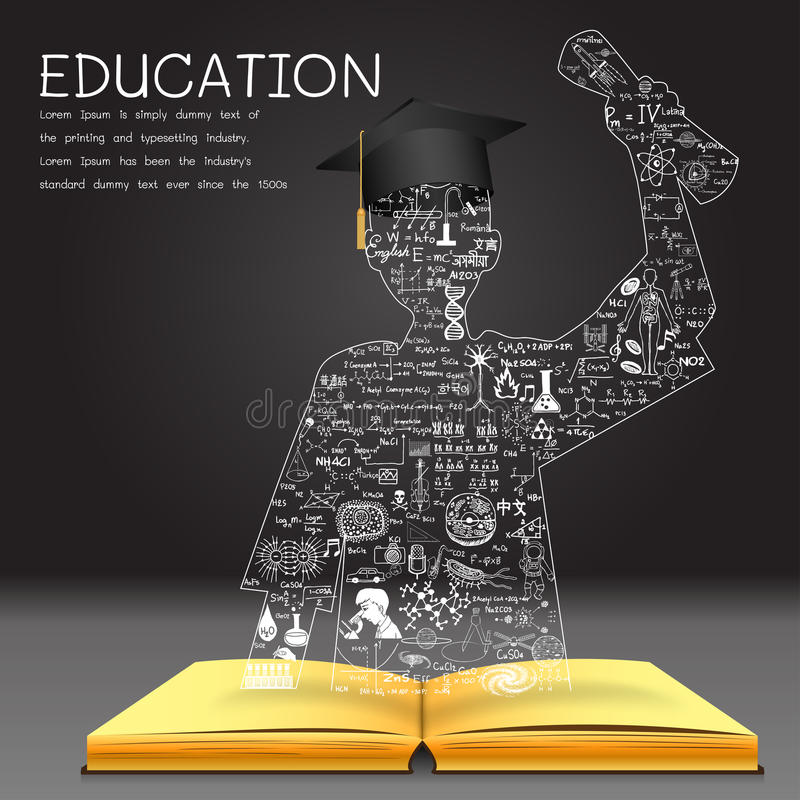 Learning concept. The knowledge from the book becomes successful graduated student royalty free illustration