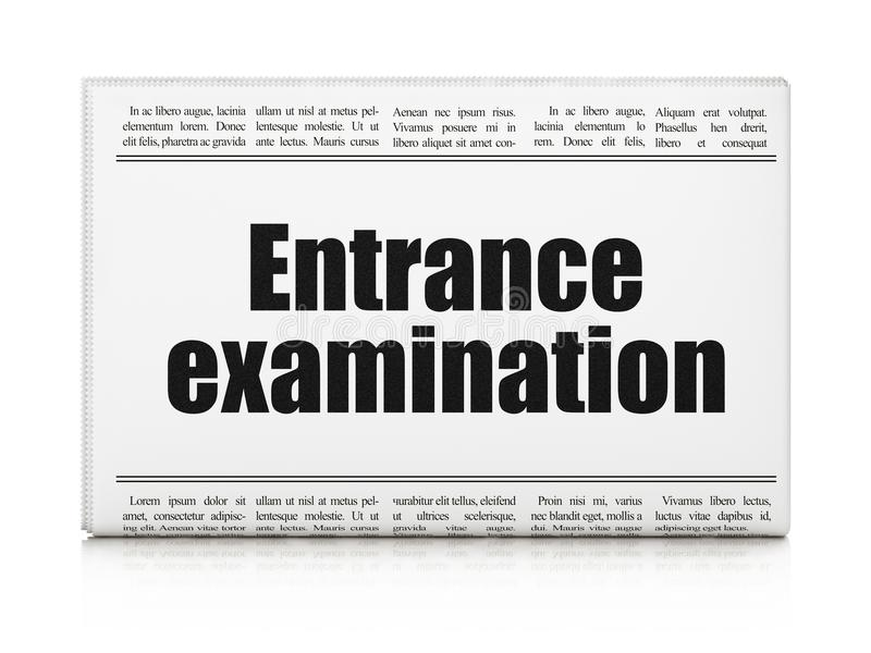 Learning concept: newspaper headline Entrance Examination. On White background, 3D rendering stock illustration