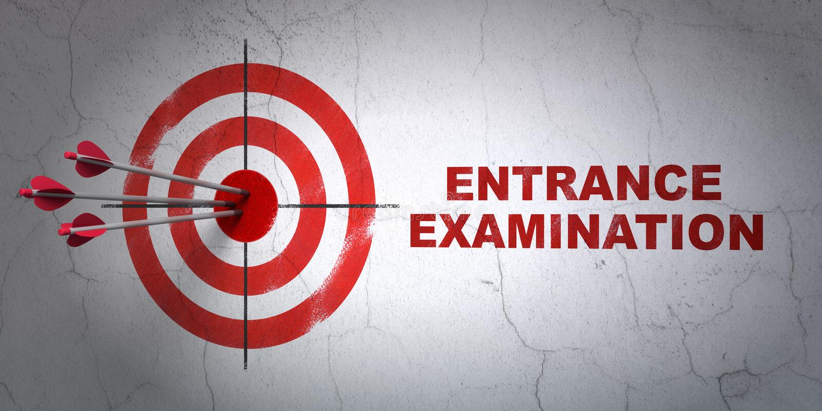 Learning concept: target and Entrance Examination on wall background. Success Learning concept: arrows hitting the center of target, Red Entrance Examination on royalty free illustration