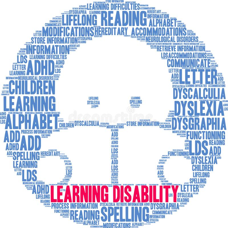 Learning Disability Word Cloud. On a white background stock illustration