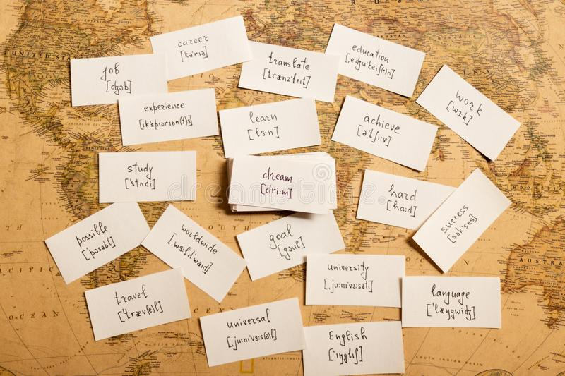 Learning english words. Dream. Learning english words by cards. Dream and transcription royalty free stock photo