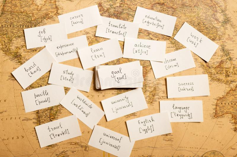 Learning english words. Goal. Learning english words by cards. Goal and transcription royalty free stock photos