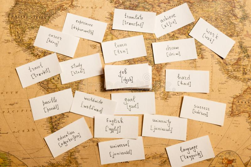 Learning english words. Job. Learning english words by cards. Job and transcription stock photos