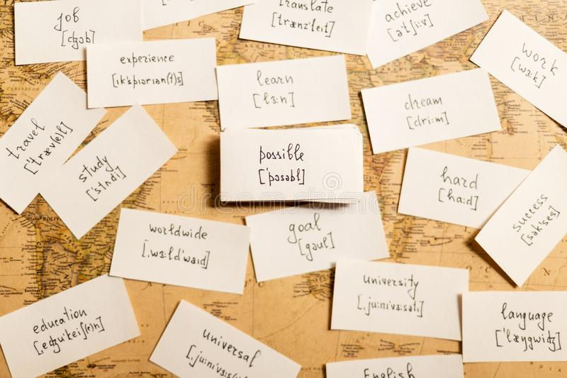 Learning english words. Possible. Learning english words by cards. Possible and transcription stock photo