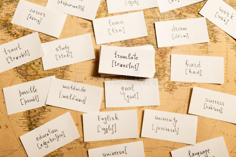 Learning english words. Translate. Learning english words by cards. Translate and transcription stock photo
