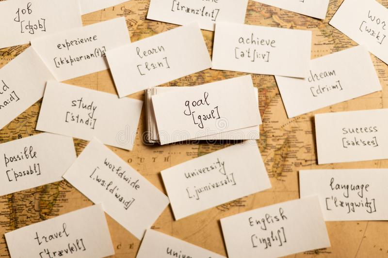 Learning english words. Goal. Learning english words by cards. Goal and transcription royalty free stock photo