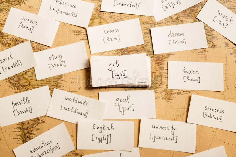 Learning english words. Job. Learning english words by cards. Job and transcription stock photo