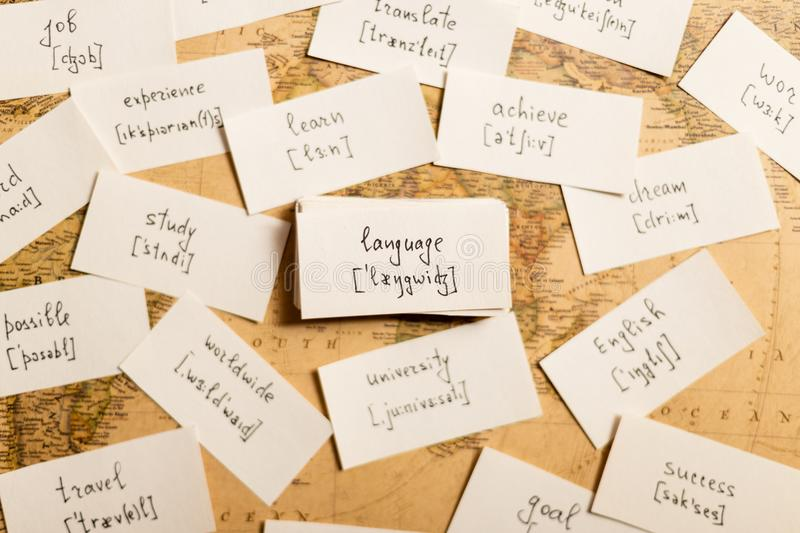 Learning english words. Language. Learning english words by cards. Language and transcription royalty free stock photos