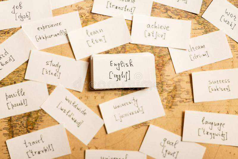 Learning english words. By cards with transcription royalty free stock image