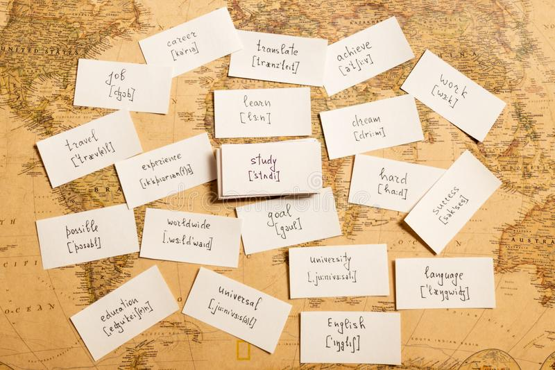 Learning english words. Study. Learning english words by cards. Study and transcription stock image
