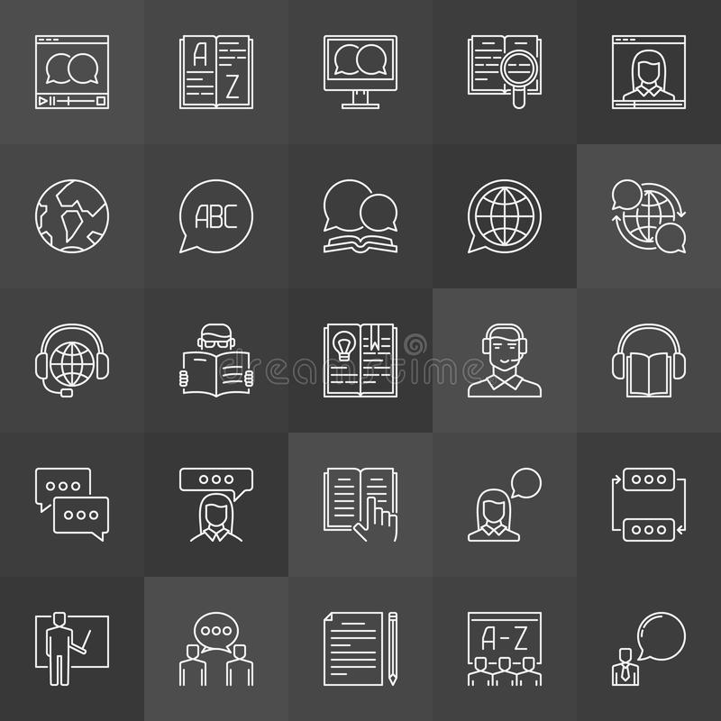 Learning a foreign language icons royalty free illustration