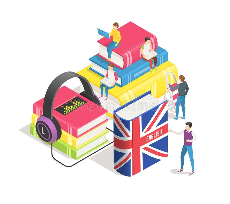 Learning foreign languages concept. People and english french dictionary, textbooks. Studying spanish german online stock illustration