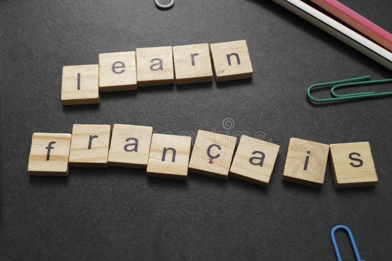 Learning French concept. Learn Francais Word, learning French concept stock photos
