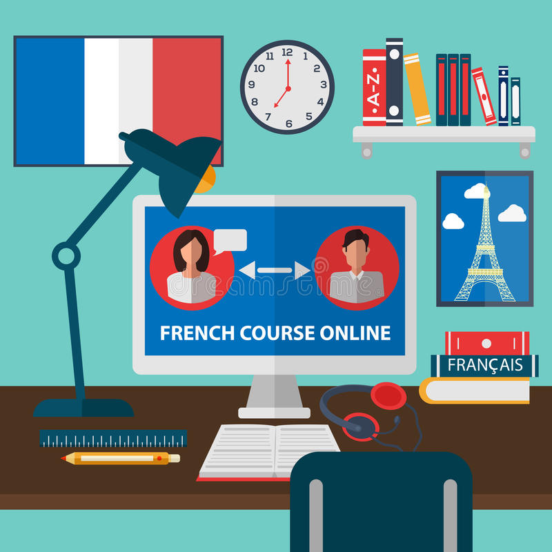 Learning French Online. Online Education stock illustration