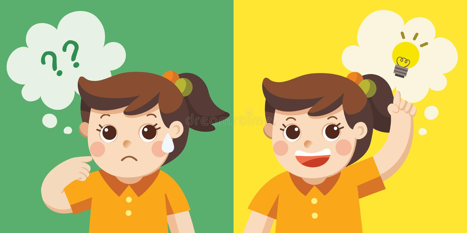 Learning and Growing Children. A Cute Girl thinking. stock illustration
