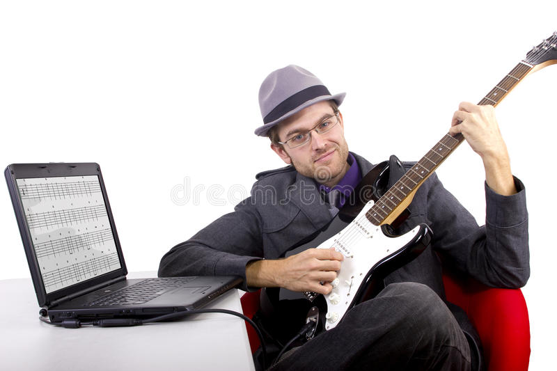 Learning Guitar Online Royalty Free Stock Image