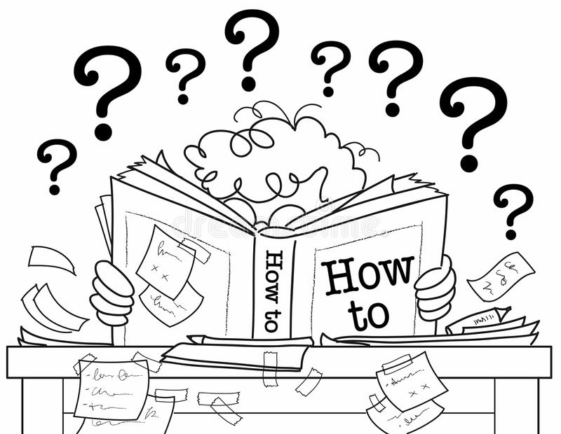 Learning from a how to book royalty free illustration