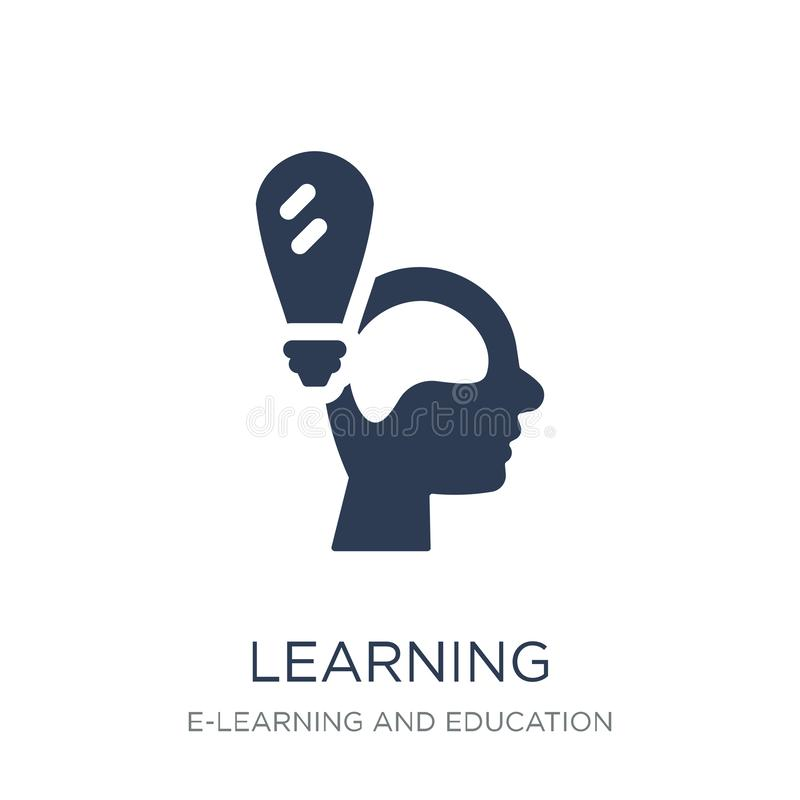 Learning icon. Trendy flat vector Learning icon on white background from E-learning and education collection stock illustration