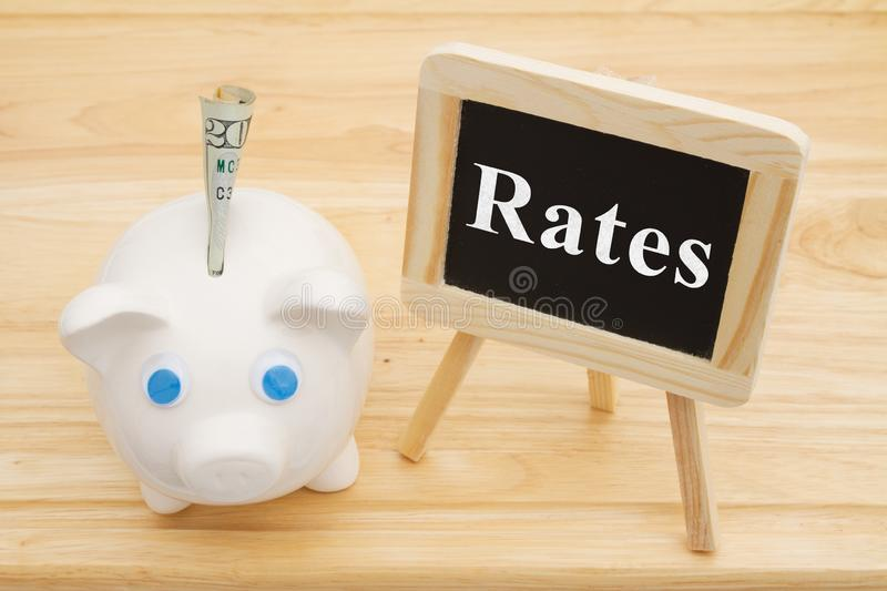 Learning about interest rates with piggy bank royalty free stock image