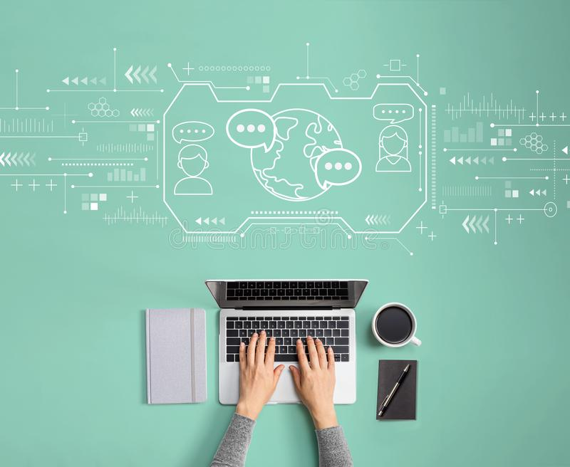 Learning Language concept with person using laptop royalty free stock images