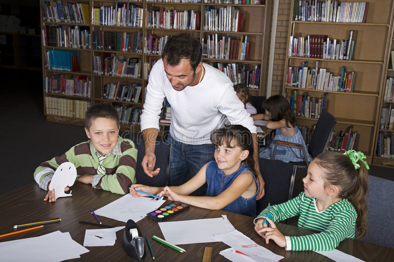 Learning in the Library stock image
