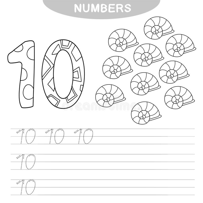 Learning numbers. Coloring book for preschool children. Writing practice. Educational game - Learning numbers. Coloring book for preschool children. Writing vector illustration