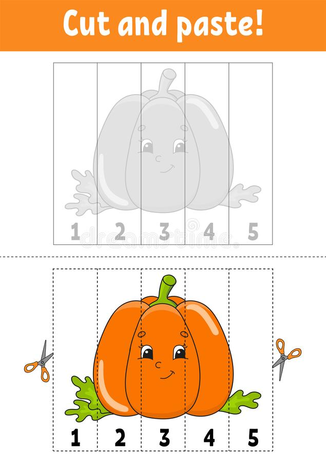 Learning numbers 1-5. Cut and glue. Pumpkin character. Education developing worksheet. Game for kids. Activity page. Color. Isolated vector illustration royalty free illustration