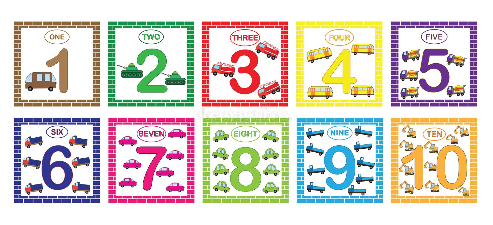 Learning numbers, mathematics with cars transport. Flash cards with numbers from 1 to 10, set. Game for children vector illustration