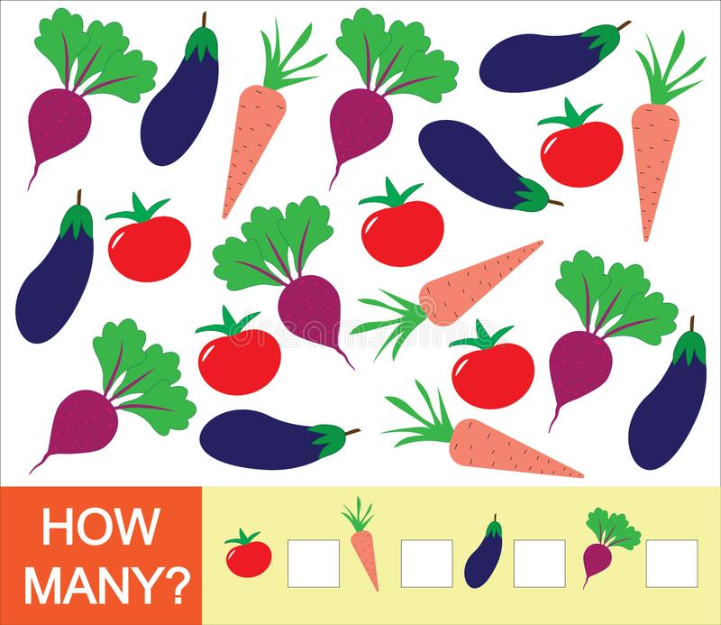 Learning numbers, mathematics, counting game for children. How many vegetables tomato, beet, eggplant, carrot. Vector illustrati stock illustration