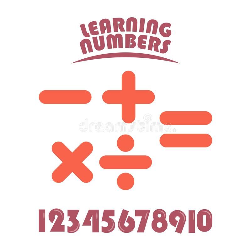 Learning Numbers Set for Kids Vector Template Design Illustration. Boy, girl, elementary, primary, character, cartoon, colorful, mathematics, three, four, five royalty free illustration
