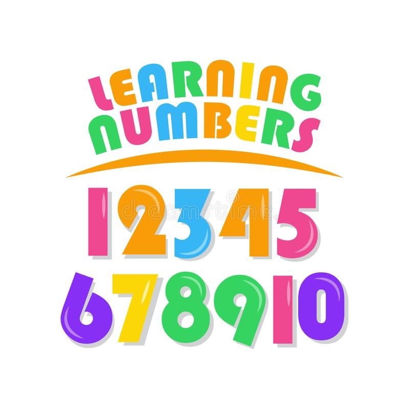Learning Numbers Set for Kids Vector Template Design Illustration. Boy, girl, elementary, primary, character, cartoon, colorful, mathematics, three, four, five stock illustration