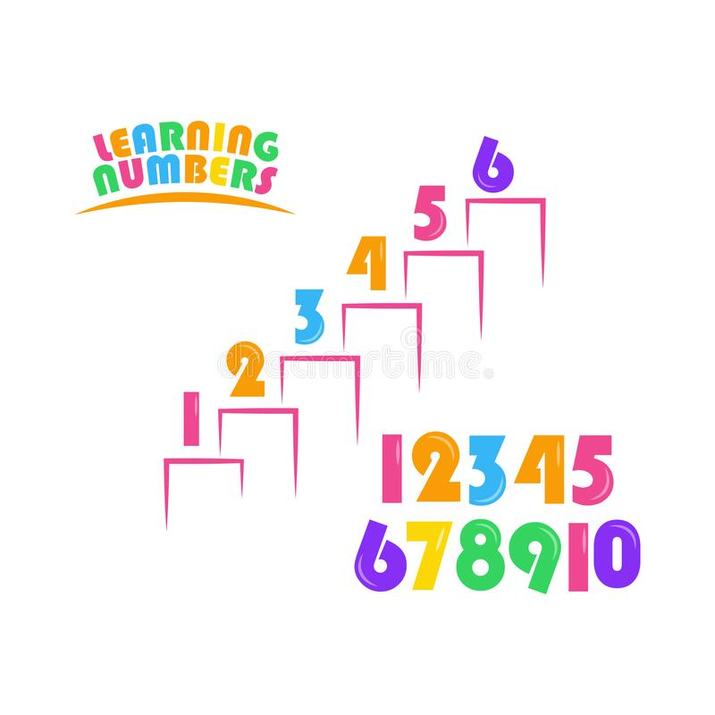 Learning Numbers Set for Kids Vector Template Design Illustration. Boy, girl, elementary, primary, character, cartoon, colorful, mathematics, three, four, five vector illustration