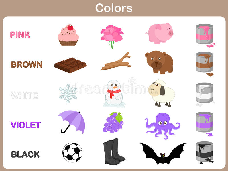 Learning The Object Colors For Kids Stock Vector - Illustration of ...