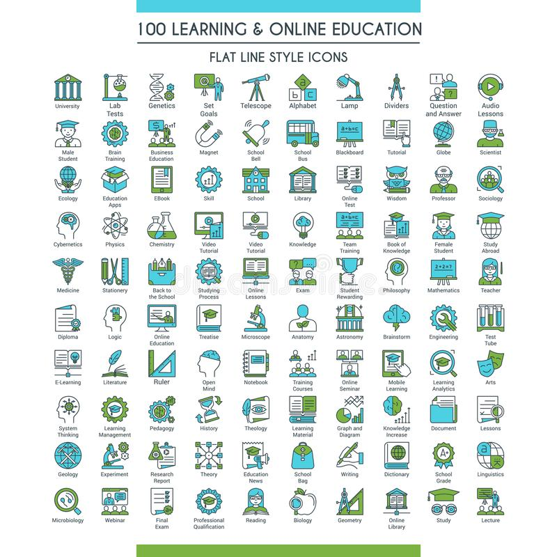 Education icons big set royalty free illustration